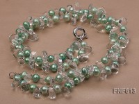 Two-strand 6x7mm Light Green Freshwater Pearl And 8x14mm White Crystal Necklace. 19inches