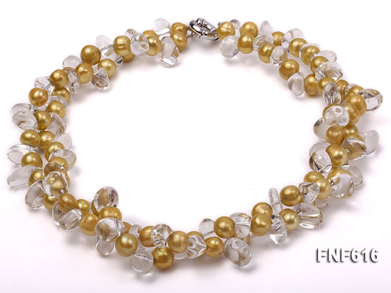 Two-strand 6x8mm Freshwater Pearl and 7x9mm White Quartz Beads Necklace
