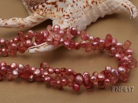 Two-strand 6x8mm Pink Freshwater Pearl and 7x9mm Pink Crystal Necklace