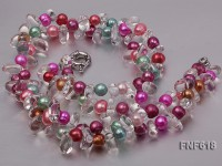 Two-strand 6x8mm Multi-color Freshwater pearl and 7x9mm White Crystal Necklace.