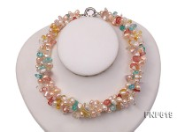 Three-strand 6-7mm Light-pink Freshwater Pearl and 6x14mm Multi-color Crystal Necklace
