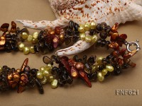 Three-strand Flat Freshwater Pearl, Tooth-shaped Freshwater Pearl and Brown Quartz Beads Necklace