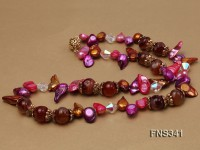 pink lavender tooth-shaped freshwater pearl with natural round red agate necklace