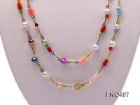 6-7mm multicolor freshwater pearl with irregular coral opera necklace