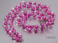 Two-strand 9-10mm Aubergine Cultured Freshwater Pearl and Side-drilled Rock Crystal Necklace