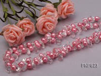 Two-strand 9-10mm Pink Cultured Freshwater Pearl and Side-drilled Rock Crystal Necklace
