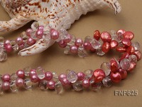 Two-strand Pink Freshwater Pearl, Rock Crystal Beads and Button Freshwater Pearl Necklace