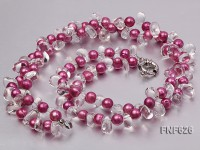 Two-strand 9-10mm Purple Cultured Freshwater Pearl and Side-drilled Rock Crystal Necklace