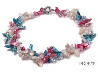 Two-strand 8×12 Multi-color Cultured Freshwater Pearl and White Baroque Crystal Necklace