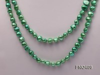 7-8mm green flat freshwater pearl opera necklace