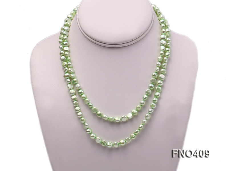 7-8mm light green flat freshwater pearl opera necklace