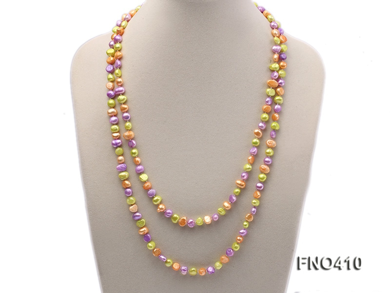 7-8mm orange,green and purple flat freshwater pearl opera necklace
