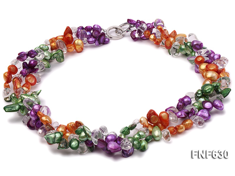 Three-strand 8x19mm Multi-color Freshwater Pearls and 8x13mm White Baroque Crystal Necklace