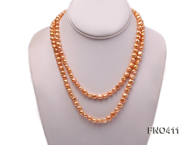 7-8mm yellow flat freshwater pearl opera necklace