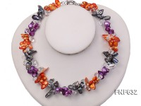 Two-strand 8x19mm Multi-color Freshwater Pearl and 8x13mm White Baroque Crystal Necklace