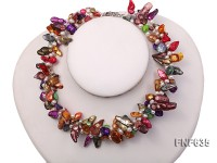 Three-strand Colorful 6x8mm Tooth-Shaped Freshwater Pearl and 4x5mm White Pearl Necklace