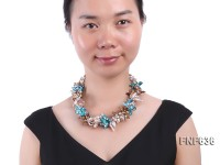 Three-strand 10x18mm Multi-color Freshwater Pearl and 8x13mm Baroque Crystal Necklace