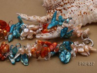 Two-strand 10x18m Pink, Blue and Orange Freshwater Pearl and Crystal Beads Necklace
