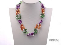 Two-strand 9x15mm Tooth-shaped Freshwater Pearl Necklace with Baroque Crystal Beads