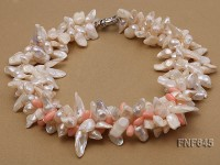 Three-strand 7x18mm Cultured Freshwater Pearl Necklace With pink Corals.