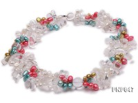 Two-strand 7x8mm Multi-color Flat Freshwater Pearl Necklace with Rock Crystals.