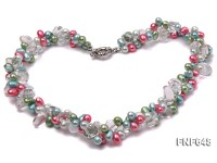 Two-strand 7x12mm Multi-color Freshwater Pearl and Baroque Rock Crystal Necklace