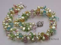 Two-strand 7x8mm Green Freshwater Pearl and Baroque Crystal Pieces Necklace
