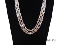 3 strand white and pink freshwater pearl necklace