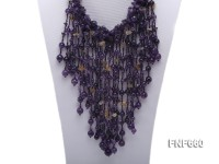 Amethyst & Citrine Necklace with a Gemstone Clasp