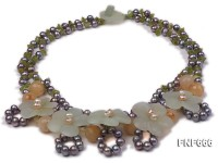 Two-strand Freshwater Pearl, Olivine, Topaz and Aventurine Necklace