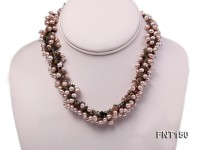 5-6mm Lavender Flat Freshwater Pearl & Colorful Tourmaline Chips Necklace and Bracelet Set