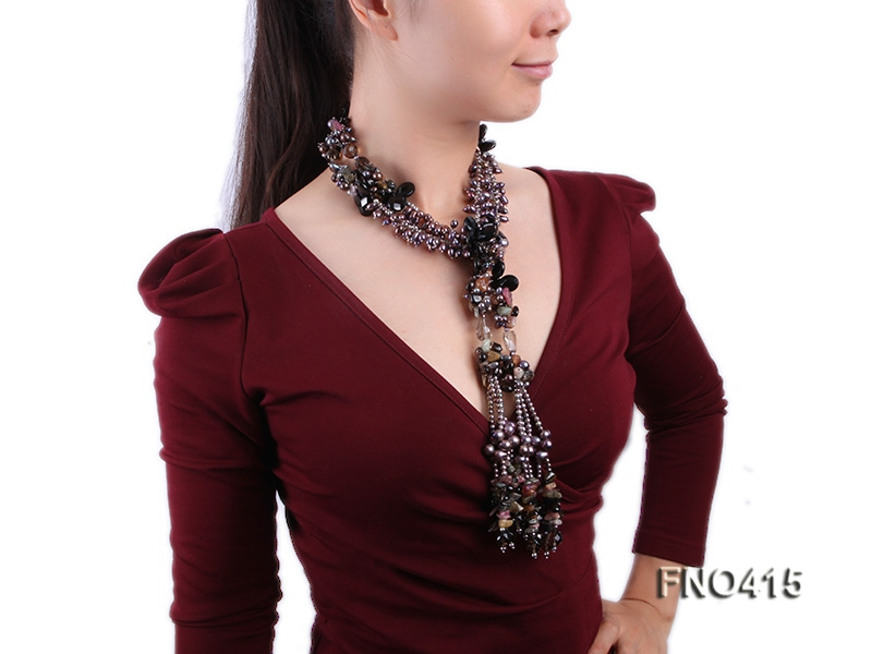 7-9mm black freshwater pearl with black agate and crystal chips opera necklace