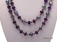 11-12mm black baroque freshwater pearl with amethyst opera necklace