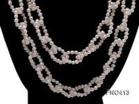 5-6mm natural white flat freshwater pearl opera necklace