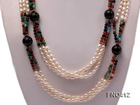 3 strand 5-7mm white oval freshwater pearl and roung agate opera necklace