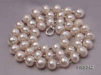 natural 7-8mm white flat freshwater pearl with gold plated beads single necklace