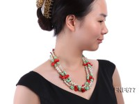 Three-strand 6x7mm Freshwater Pearl Necklace with Turquoise and Coral
