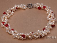 Three-strand 5×6.5mm White Freshwater Pearl Necklace Dotted with 9mm Cerise Coral Flower