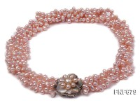 Three-strand 5×6.5mm Pink Freshwater Pearl Necklace with Flower-shaped Clasp. 17.5 Inches