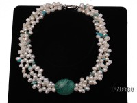 Three-strand 5.5x7mm White Freshwater Pearl Necklace Set With Turquoise. 15.5 Inches