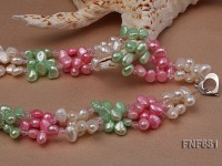 Three-strand 7x9mm Flat Cultured Freshwater Pearl and Faceted Pink Crystal Necklace