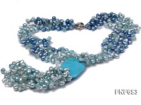 Multi-strand 7x11mm Blue and Dark-blue Freshwater Pearl Necklace with Aquamarines and a Turquoise
