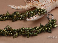 Three-strand 5x7mm Grass-green Freshwater Pearl and 8x14mm Tooth-shaped Pearl Necklace