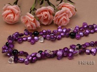 Two-strand Purple Freshwater Pearl, Black Agate Beads and Crystal Beads Necklace