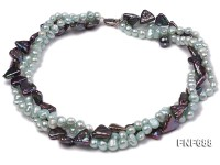 Three-strand 6-7mm Light-blue and 12mm Dark-purple Cultured Freshwater Pearl Necklace