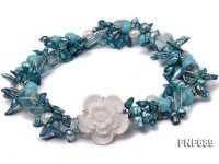 Three-strand Tooth-shaped Pearl, Turquoise Beads, Baroque Pearl and Blue Crystal Necklace