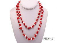 6-7mm white freshwater pearl and red coral opera necklace