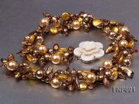 Three-strand Tooth-shaped Pearl, Flat Pearl and Yellow Shell Beads Necklace