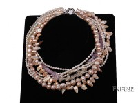 Multi-strand Cultured Freshwater Pearl and Crystal Necklace