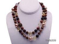 2 strand gemstone and seashell pearl necklace